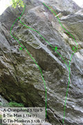 Rock Climbing Photo: Map of a few routes on the upper left side of the ...