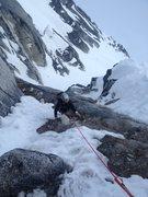 Rock Climbing Photo: Adrienne Kentner climbing in early season mixed co...