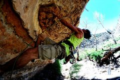 Rock Climbing Photo: In the roof near the start of The Thin Thin.  Phot...