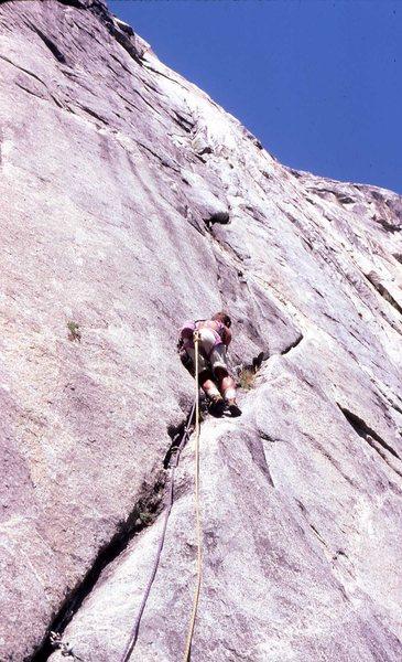 Rock Climbing Photo: FA Dolphin Dreams, North Dome. P-4 Wide, Flared & ...