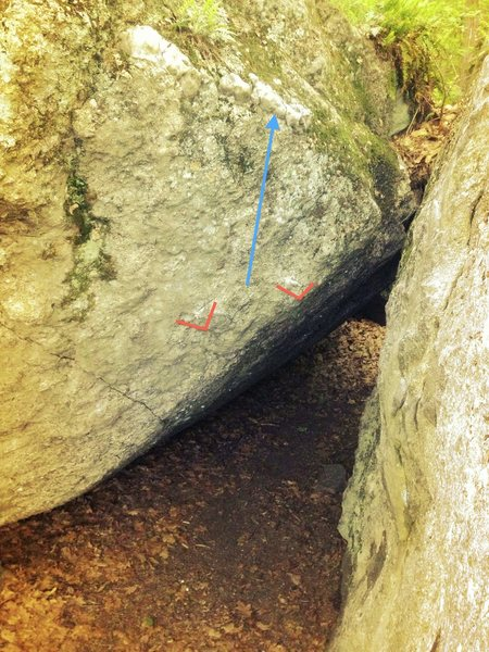 This photo shows the starting flake, a key crimp to the right (red) and line of travel (blue). I thought it might help clarify these for those interested in climbing this problem.