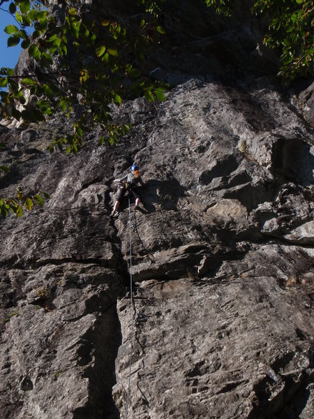 Rock Climbing Photo: Abby getting Cold Feet. ;)