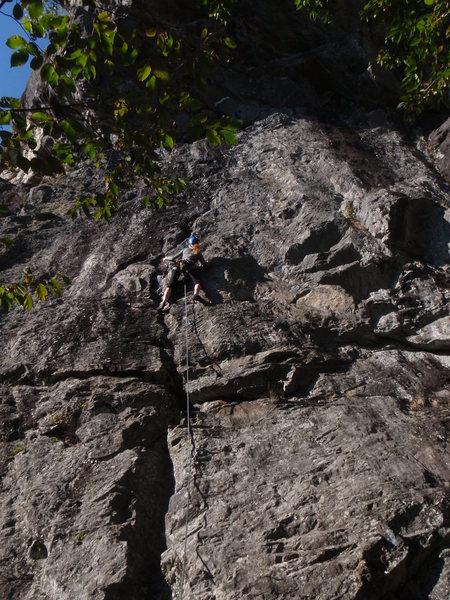 Rock Climbing Photo: Abby getting Cold Feet. ;)