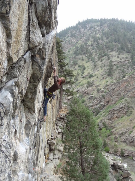 Rock Climbing Photo: Just a clip and a mantle and should be good.
