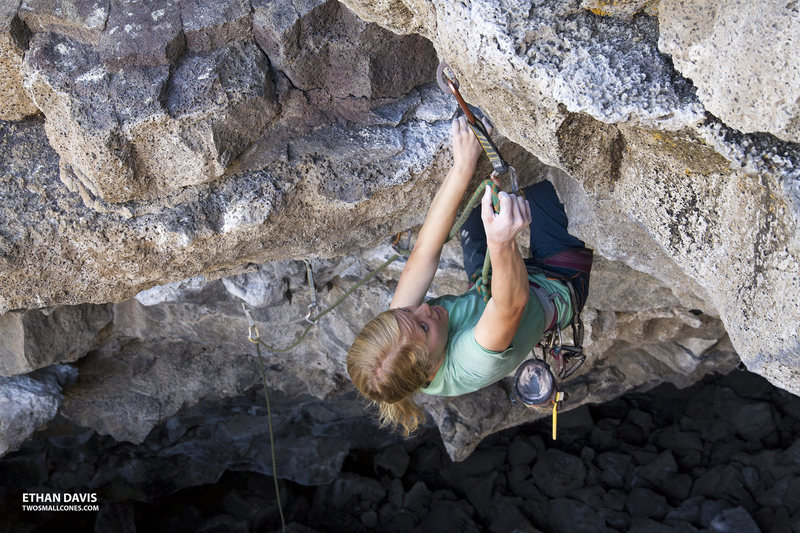 "Robyn climbing ""The Warm-Up"" 5.10d at the Lava Tubes - Idaho"
