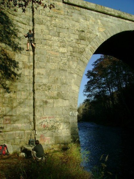 Decent picture from 2007.  Steve Allan climbing with Lou Calero on belay.