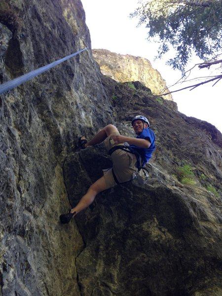 Rock Climbing Photo: John enjoying the heel hook on Drunken Midget
