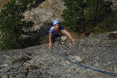 Rock Climbing Photo: Jenny nearing the top of Underdog