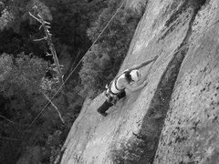 Rock Climbing Photo: Jonathan Garlough follows through the crux
