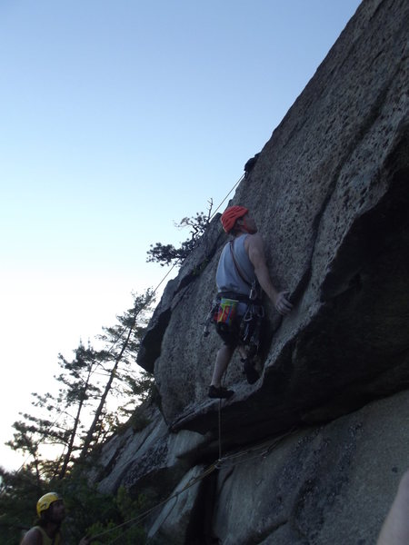Jay getting to the crux on the third pitch