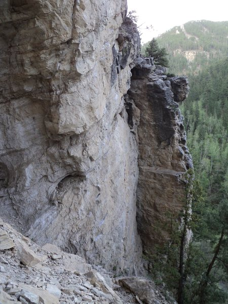 Rock Climbing Photo: Chin Music is the first bolt line on the face left...
