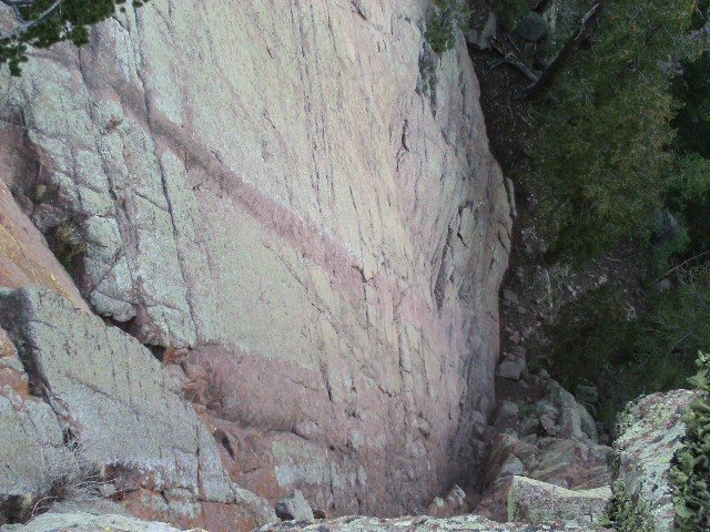 Rock Climbing Photo: Andy Boy Wall, looking south and down, the clean f...