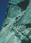 Rock Climbing Photo: Gary Molzan leading the route, 1985.