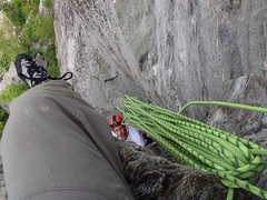Rock Climbing Photo: Michael approaching the top of the first pitch, Ju...