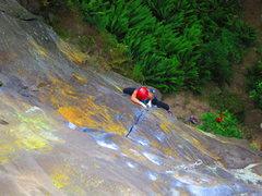 Rock Climbing Photo: April low on P1, Gandalf's Grip