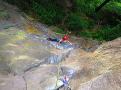 Rock Climbing Photo: April working out the crux move on P1, Gandalf's G...