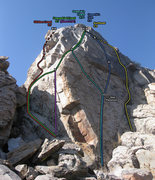 Rock Climbing Photo: Route topo and bolt locations.