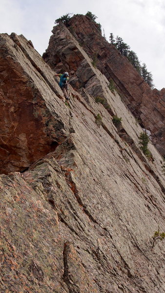 Mooner traversing just below the ridge on the upper section. The crux is the section ahead of him.