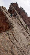 Rock Climbing Photo: Mooner traversing just below the ridge on the uppe...
