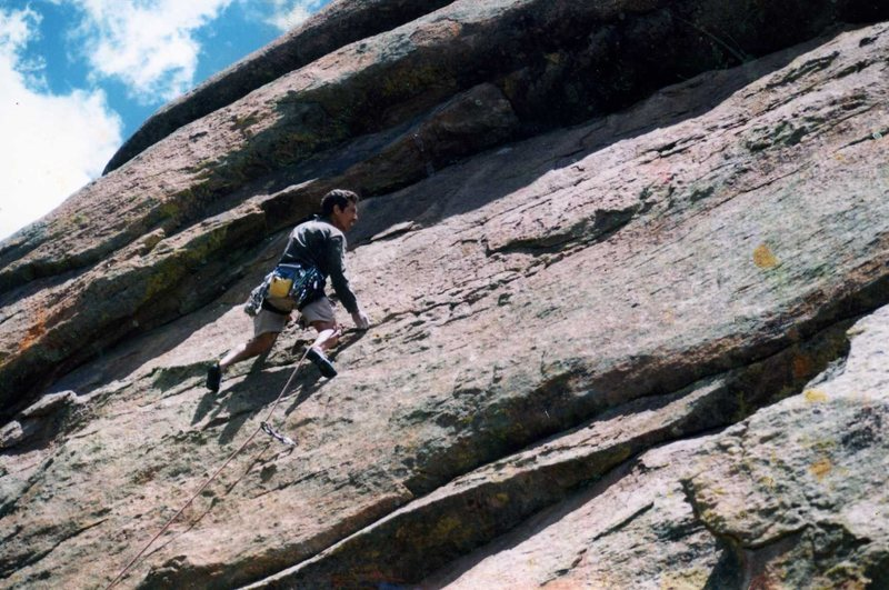 Mike Stewart low on the route c. 2000