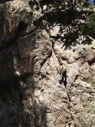 Rock Climbing Photo: Linda working her way up Global Warming