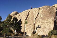 Rock Climbing Photo: Left Peyote Crack.  Great after dinner mint quiet ...