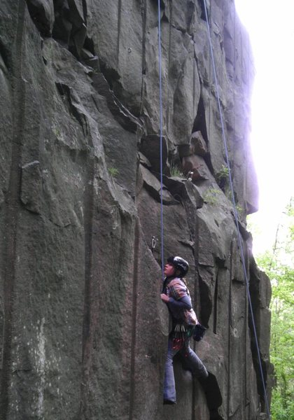 Rock Climbing Photo: Rylee charging past the first bolt.