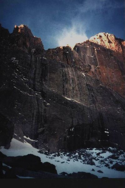 Two climbers at the bottom of the photo - heading for Lamb's Slide, January 1977.