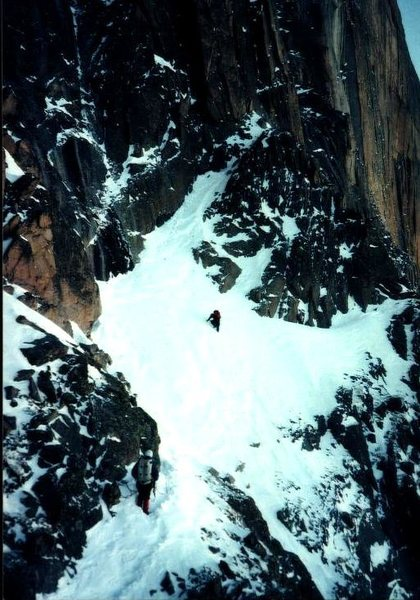 Rock Climbing Photo: Cliff & Ed heading in to the Notch, January 1977