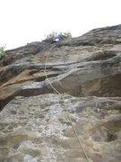 Rock Climbing Photo: Marin leading Dvete Fukli (5.9) at Bozhenitsa.