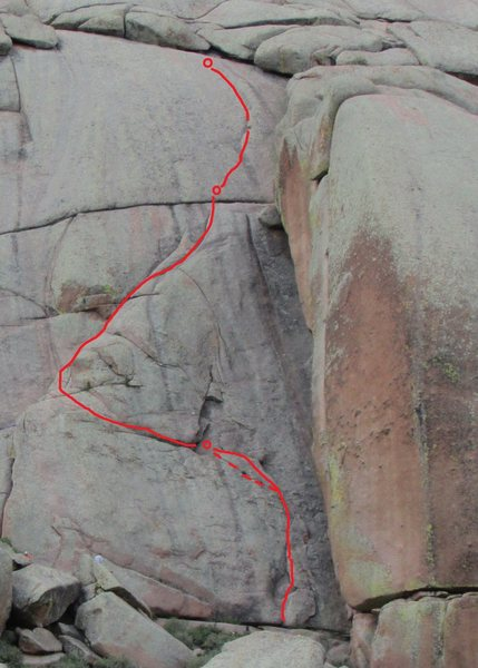 Rock Climbing Photo: Route sketch (approximate) with traditional anchor...