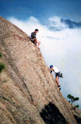 Rock Climbing Photo: Upper Friction. Tom Wezwick climbing, Mike Stewart...