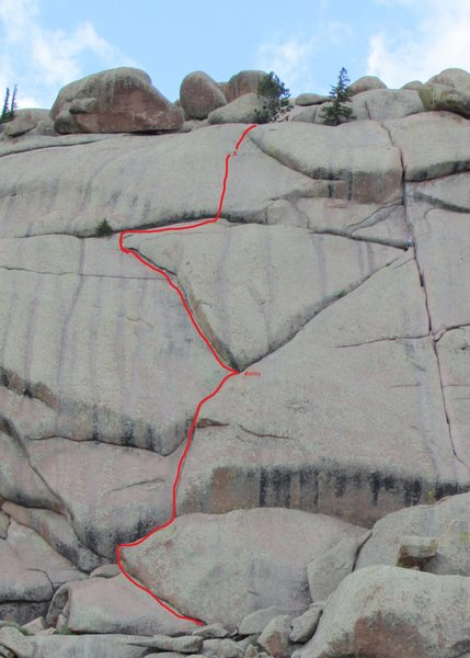 Rock Climbing Photo: Route diagram; X = known bolt placement.