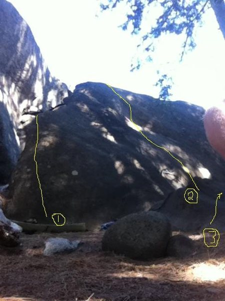 Rock Climbing Photo: 1 - Phatness 2 - Hesitator 3 - Tree Crack (to the ...