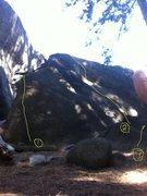 Rock Climbing Photo: 1 - Phatness 2 - Hesitator 3 - Tree Crack (to the ...