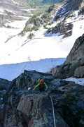 Rock Climbing Photo: Rachel following pitch 1