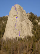 Rock Climbing Photo: Topo for Southwest Face