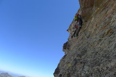 Rock Climbing Photo: Leading the final and crux pitch.  This pitch has ...
