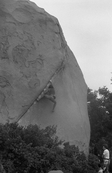 1986 Bouldering Championship. Christian Griffith. Photo: M. Stewart