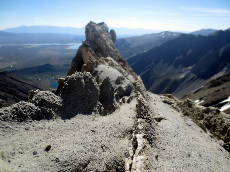 Ridge is lined with interesting rock spikes, like ones on a dinosaur's spine