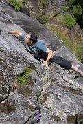 Rock Climbing Photo: Jon Nelson nearing the top of P2