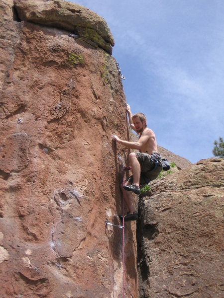 Rock Climbing Photo: Setting up for the final move on Mysterious Redhea...