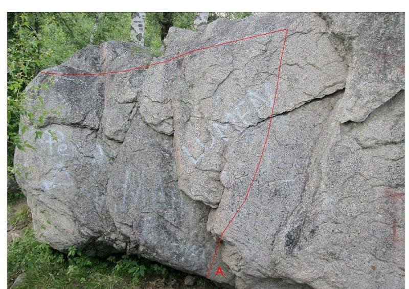 Rock Climbing Photo: South side of Dumpster Boulder (upstream). A.  No ...