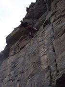 "Rock Climbing Photo: At the roof on ""Hours for Dollars"" at Ca..."