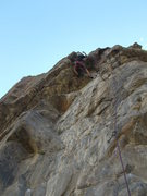 """Rock Climbing Photo: Moving through the crux on """"Fire the Boss&quo..."""