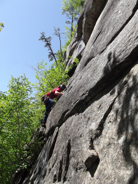 Jon after the first crux<br> Photo by Jay