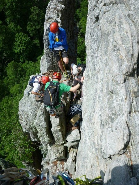 Rock Climbing Photo: Paul Deagle Looking down hanging belay at bolted a...