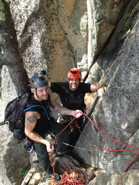Alan Jenkins and Christopher Lane at the pitch 2 belay