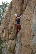 Rock Climbing Photo: Joanne cruises through the runout section to the s...