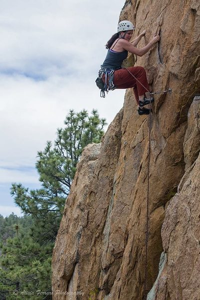 Joanne on Mighty Quinn... a few moves before the first crux...